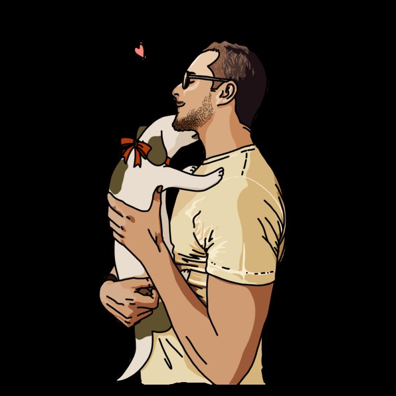 犬と男性アイボリー