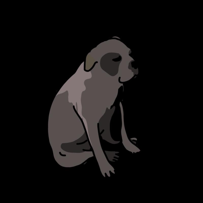 一息つく犬黒