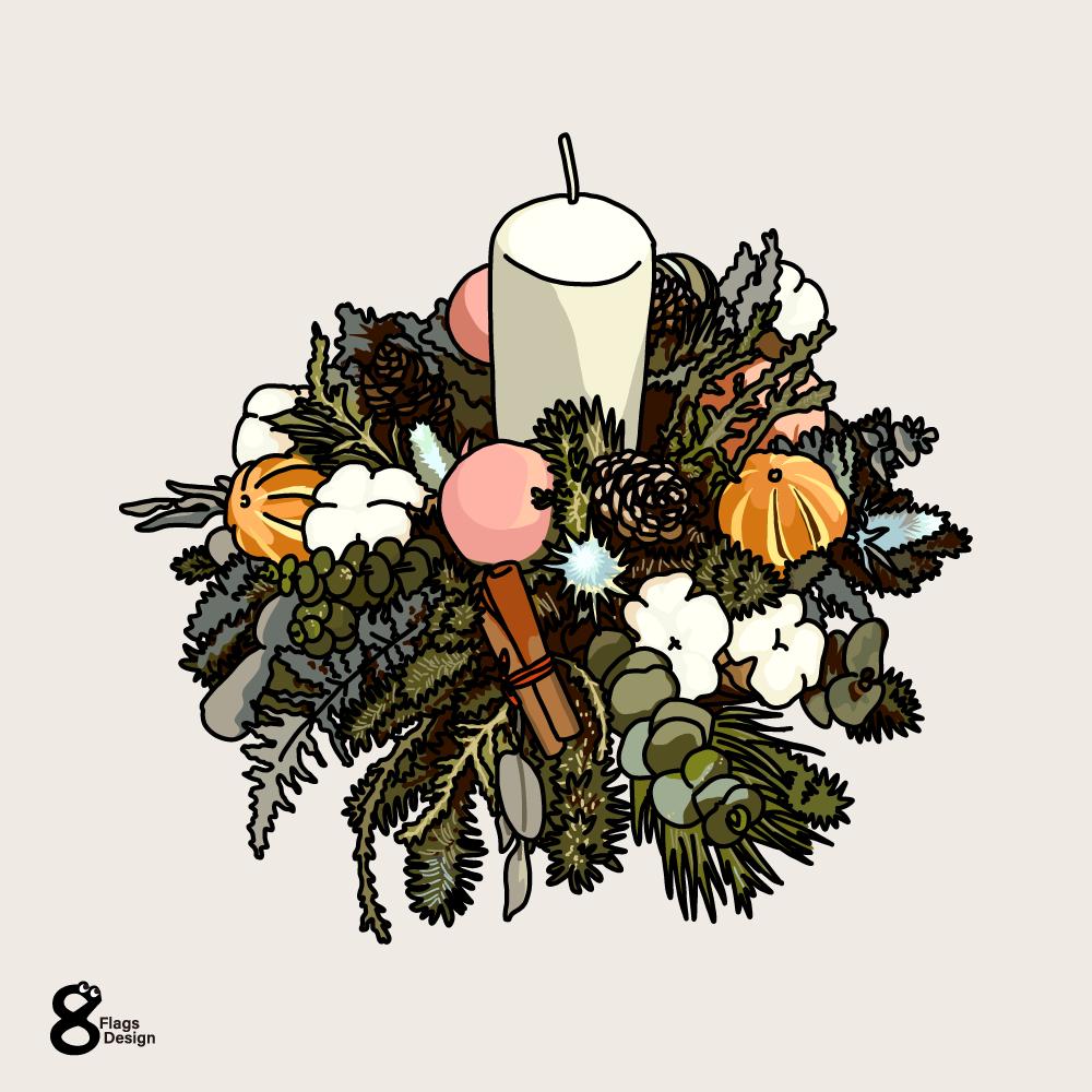 クリスマスのキャンドルのキャッチ画像