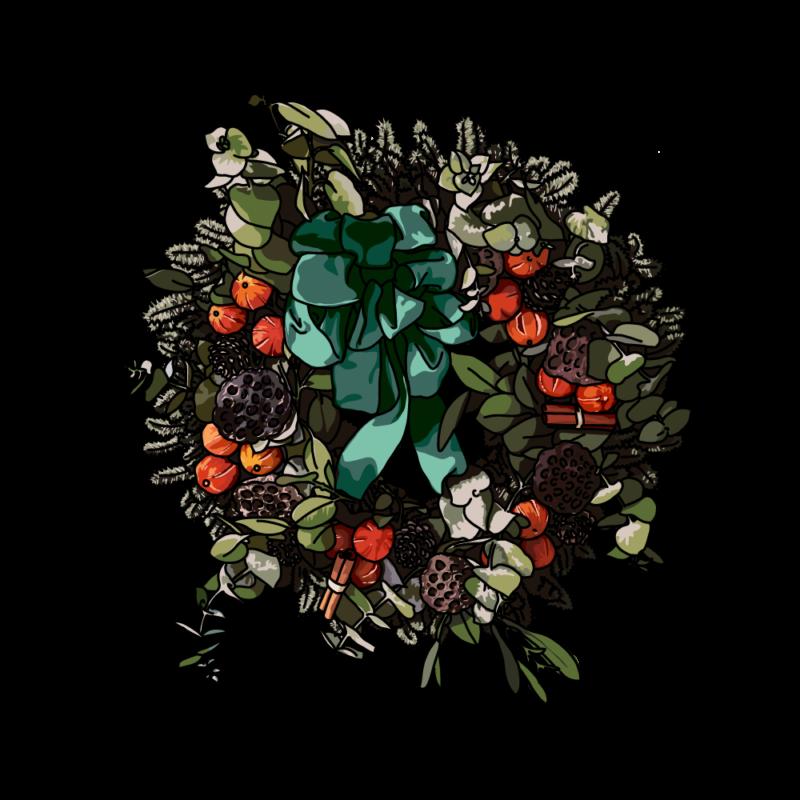 クリスマスのリースのイラストグリーン