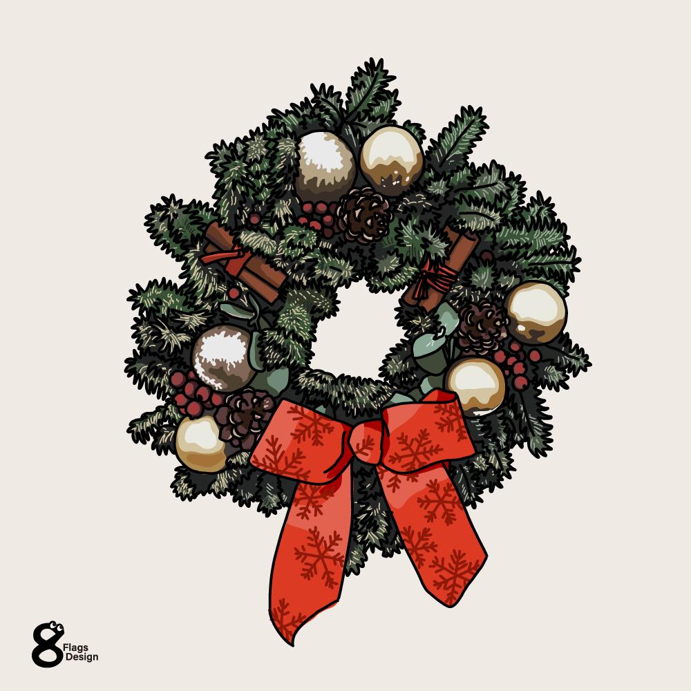 クリスマスリボンのリースのキャッチ画像