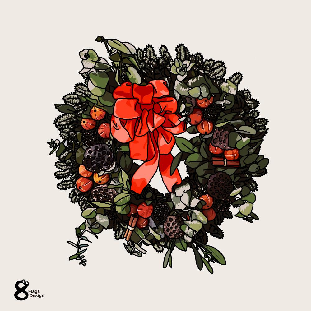 クリスマスのリースのイラストのキャッチ画像