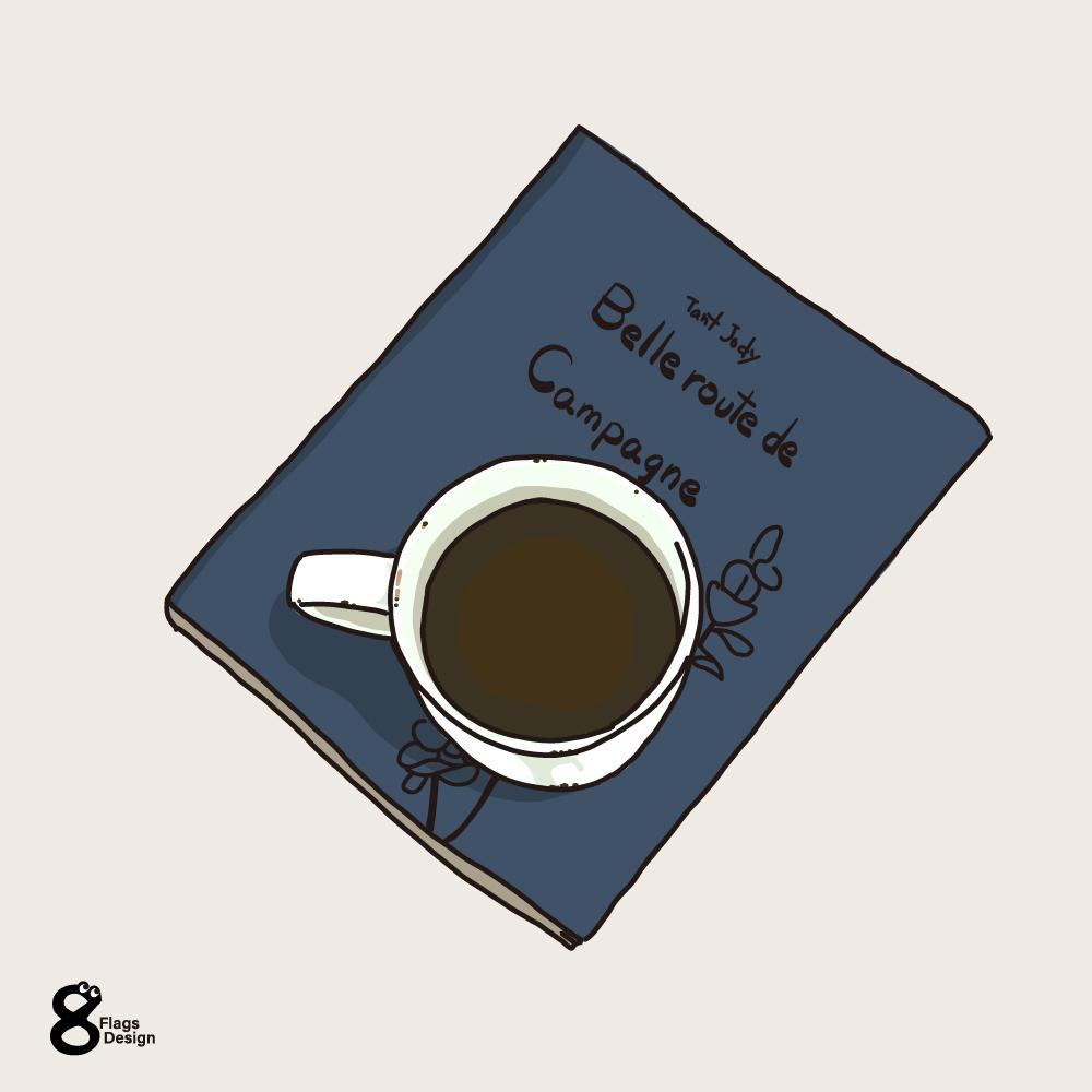 本の上に置いたコーヒーのキャッチ画像