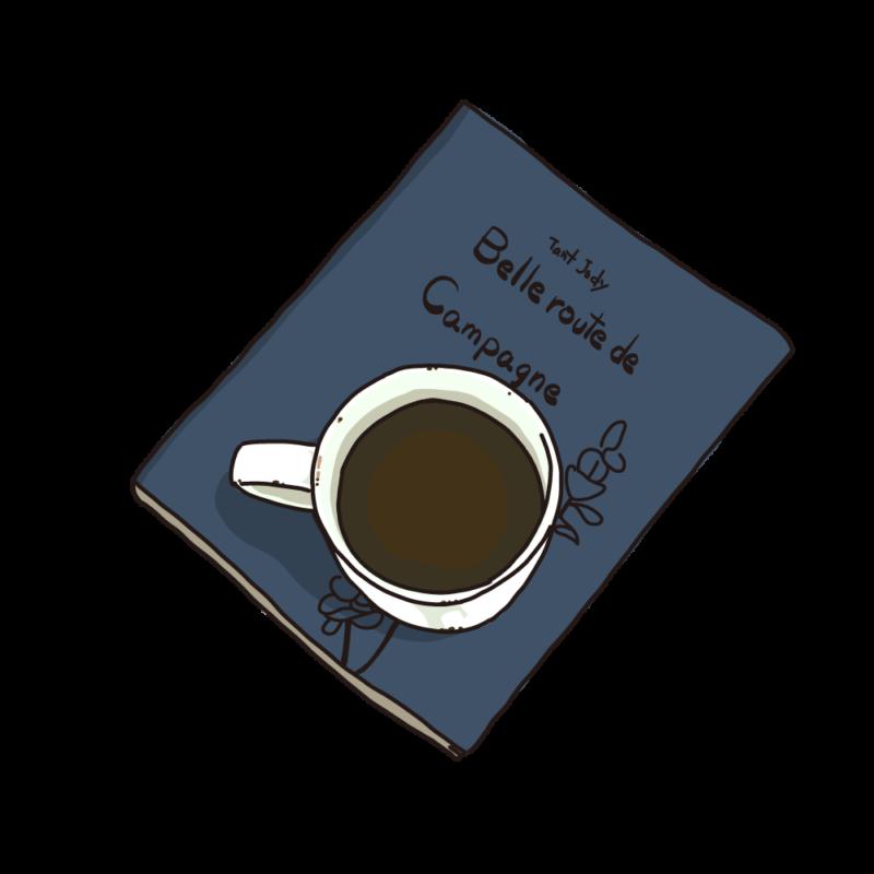 本の上に置いたコーヒー青