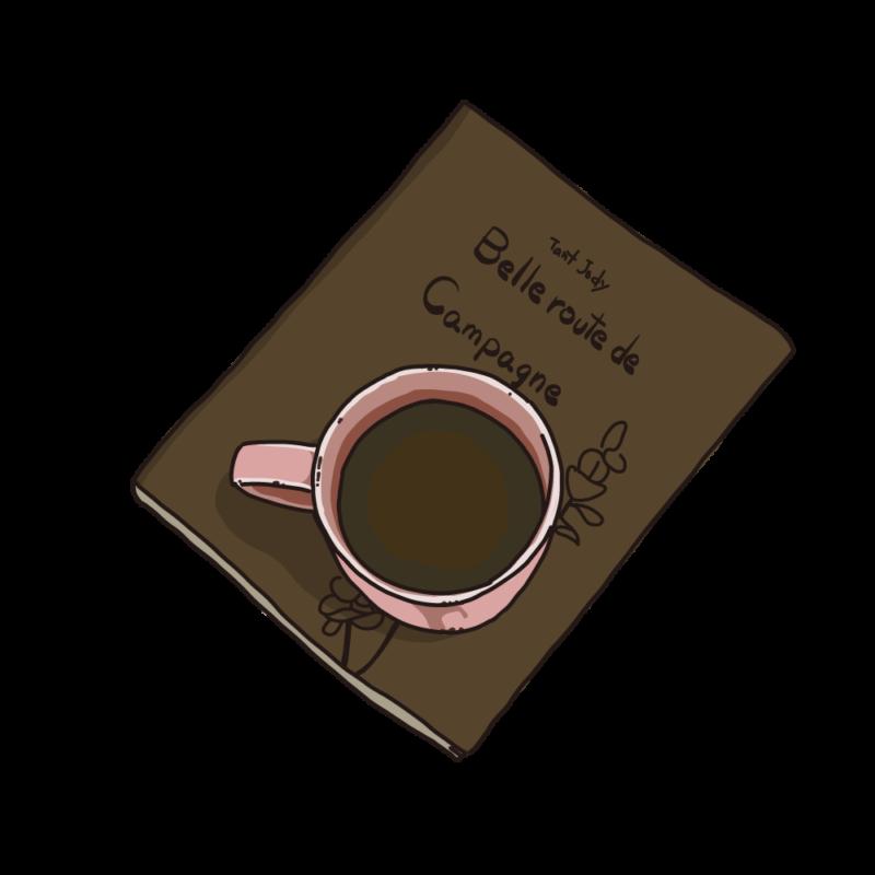本の上に置いたコーヒーブラウン