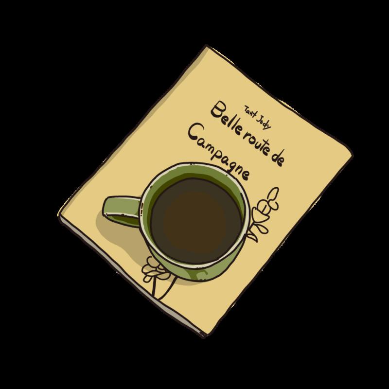 本の上に置いたコーヒーイエロー