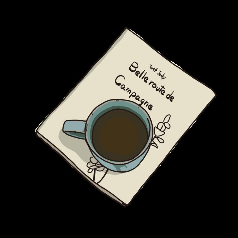 本の上に置いたコーヒーベージュ