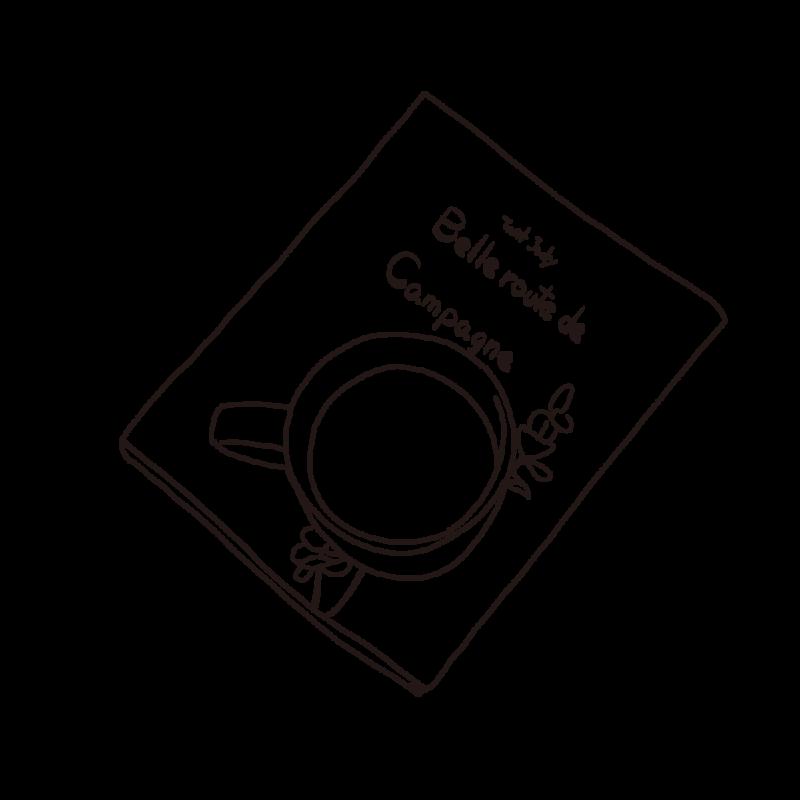本の上に置いたコーヒーライン