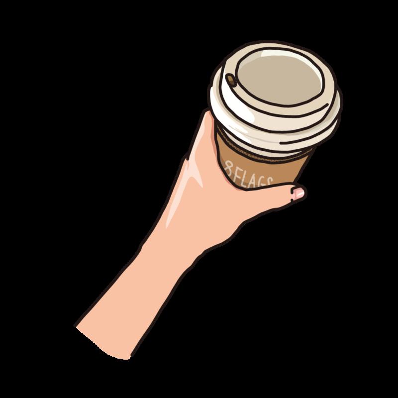 テイクアウトのコーヒーを持つ白