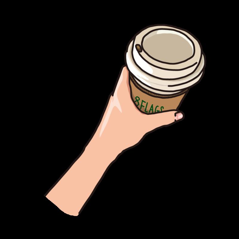 テイクアウトのコーヒーを持つ緑