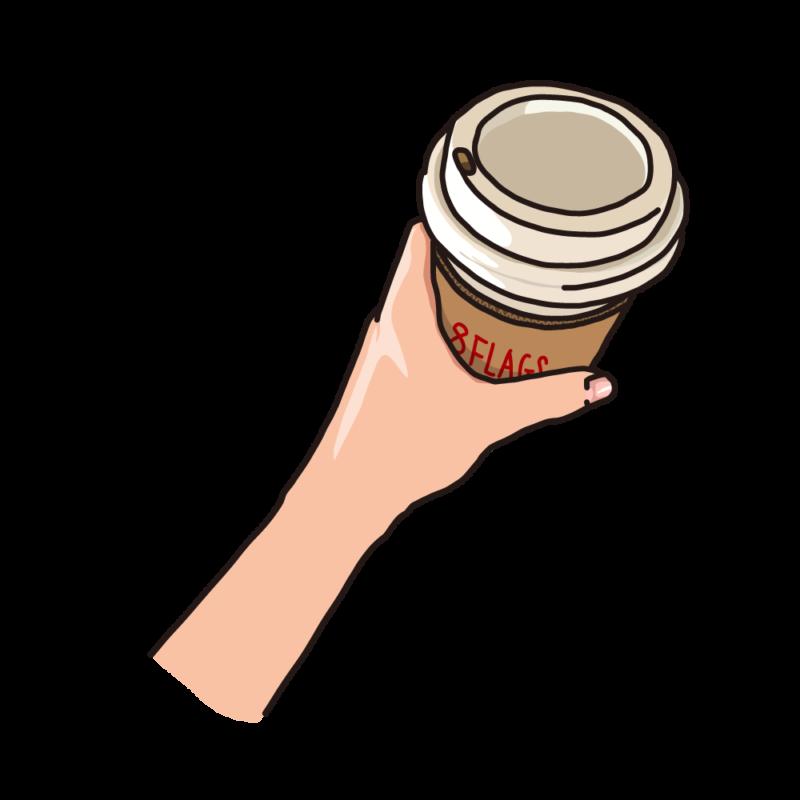 テイクアウトのコーヒーを持つ赤