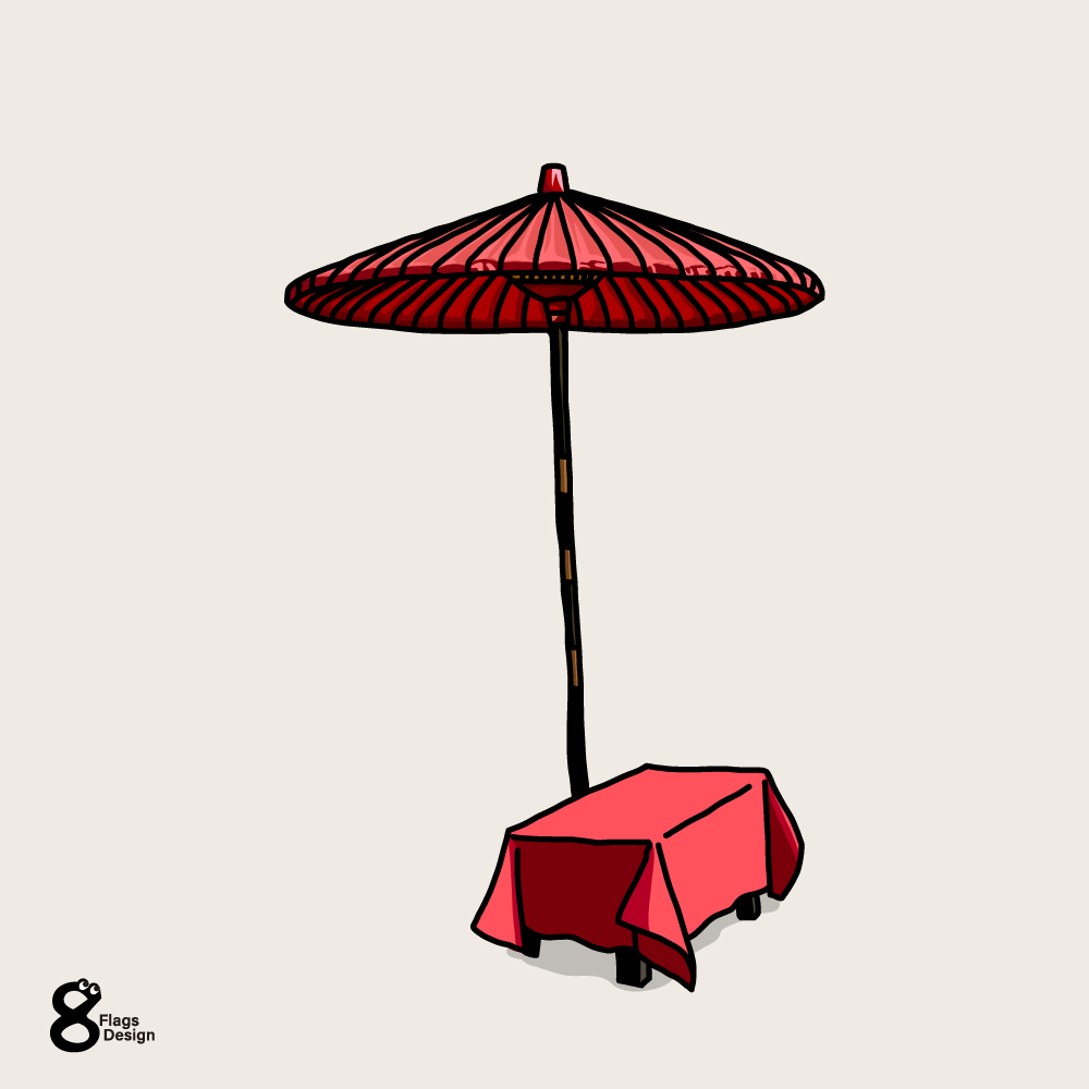 茶屋の傘のキャッチ画像