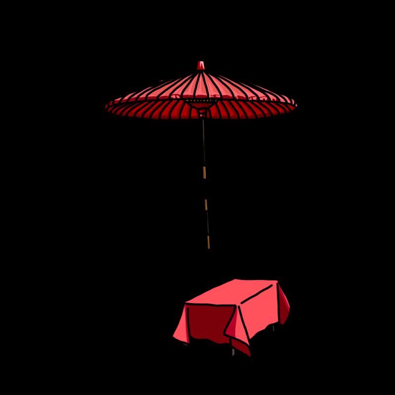 茶屋の傘赤