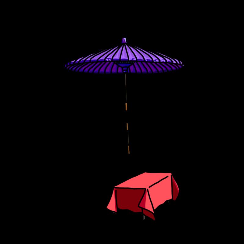茶屋の傘ムラサキ