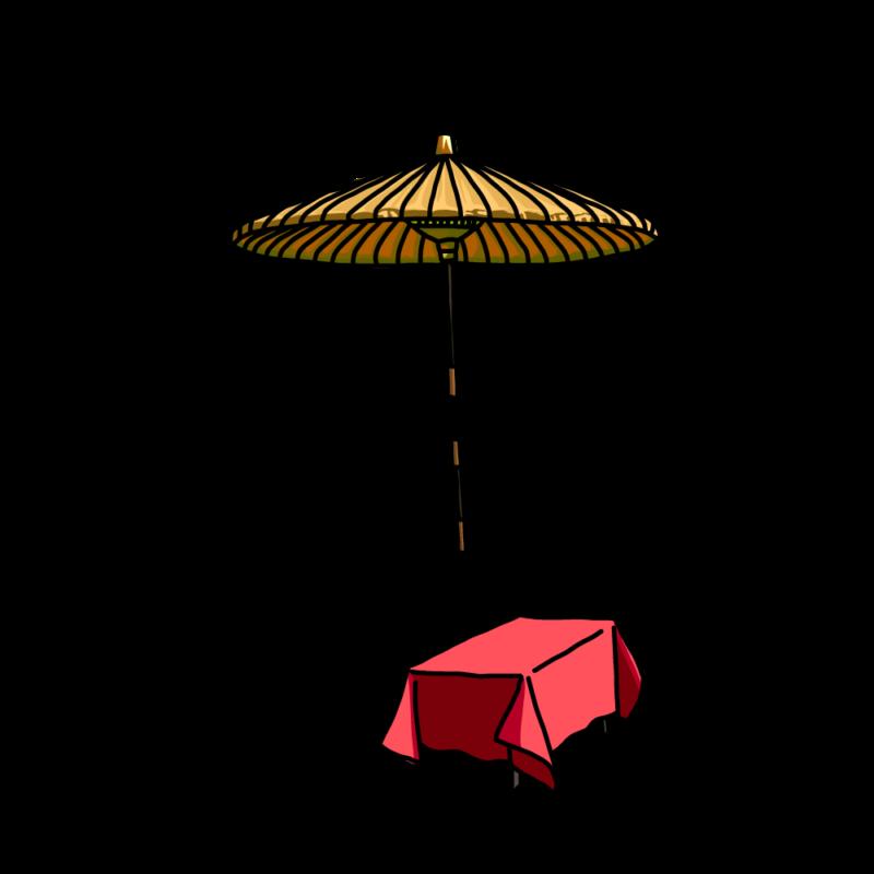 茶屋の傘黄色