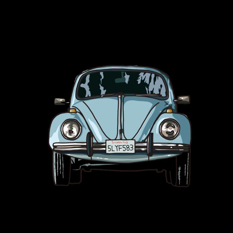 車(正面)ブルー