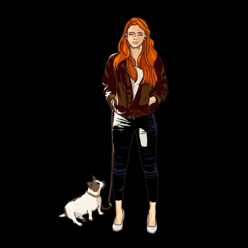 愛犬と散歩中の女性赤毛