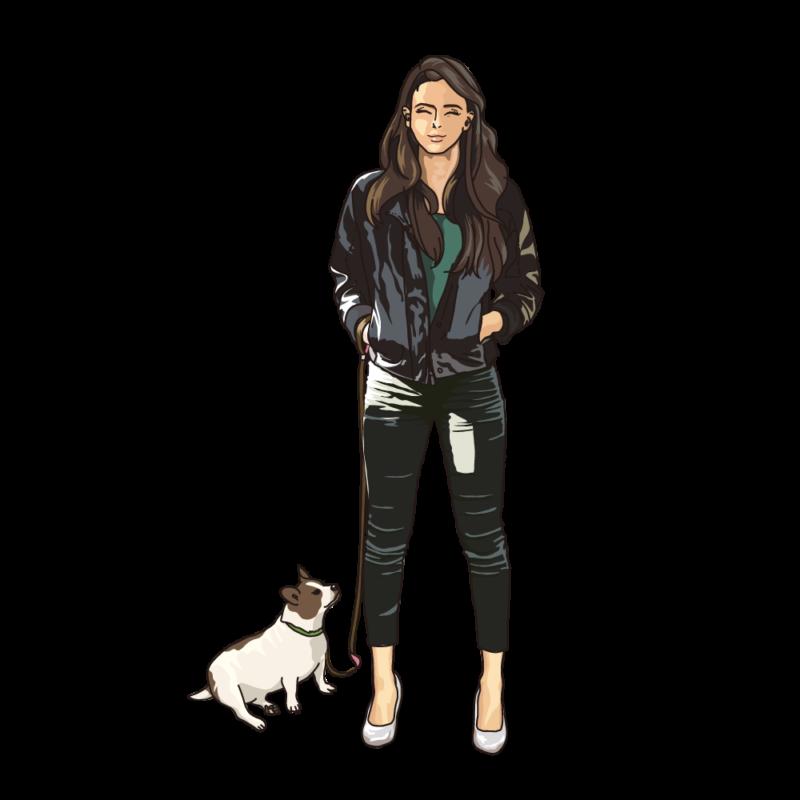 愛犬と散歩中の女性ブラック