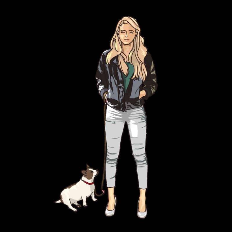 愛犬と散歩中の女性ブロンド