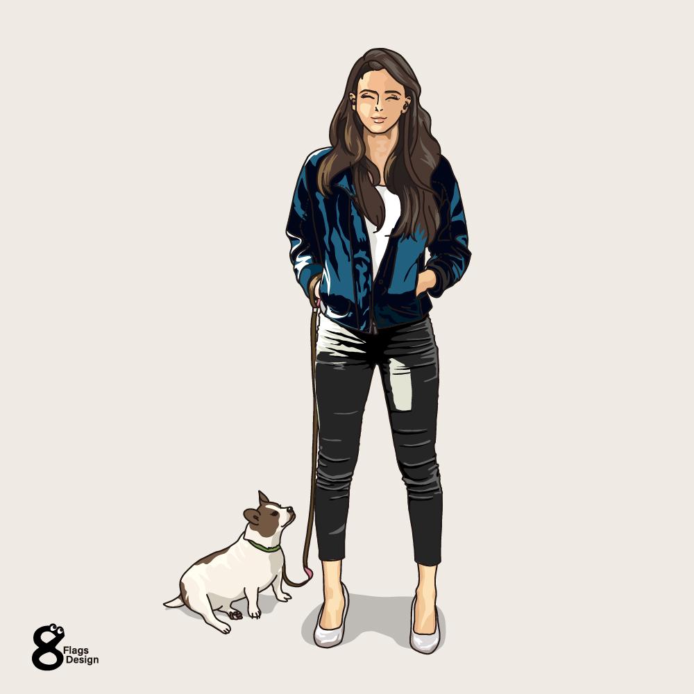 愛犬と散歩中の女性のキャッチ画像