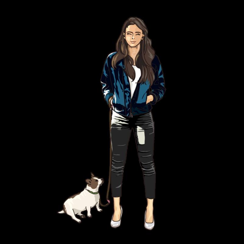 愛犬と散歩中の女性ブルー