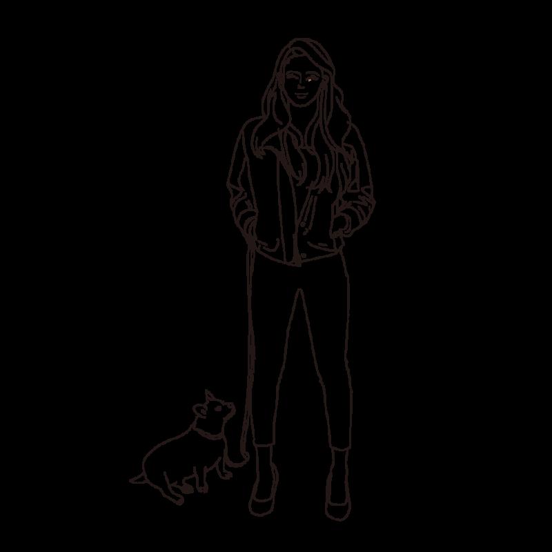 愛犬と散歩中の女性ライン