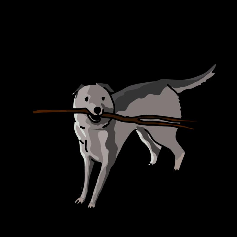 棒っ切れを持っている犬モノクロ