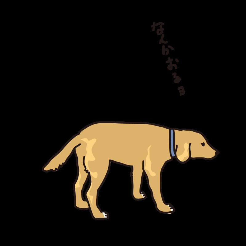 散歩途中の犬サンド
