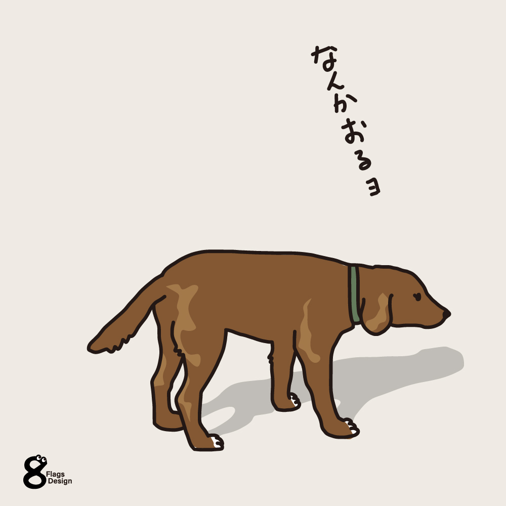 散歩途中の犬のキャッチ画像
