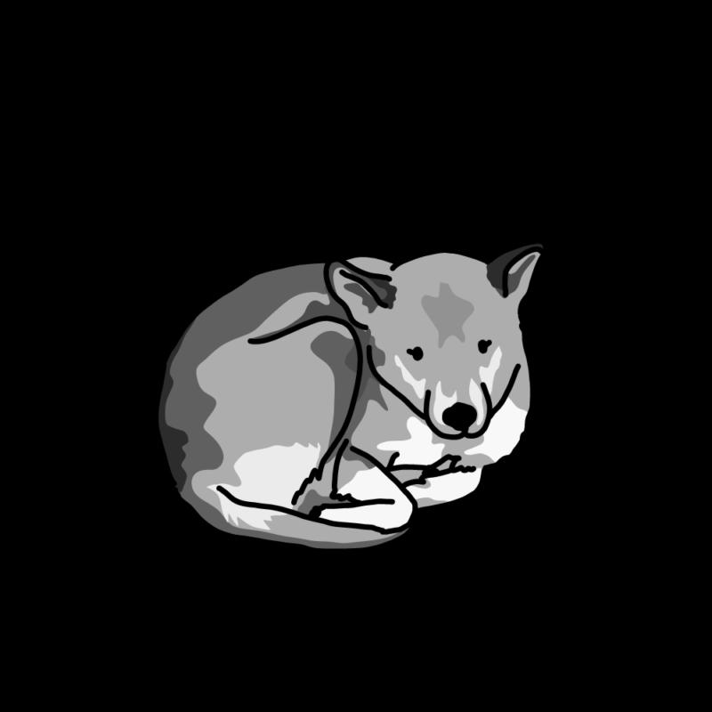 さむさむ犬モノクロ