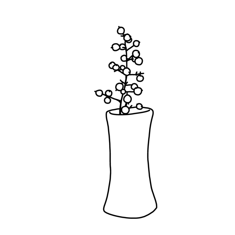 南天の一輪挿しライン