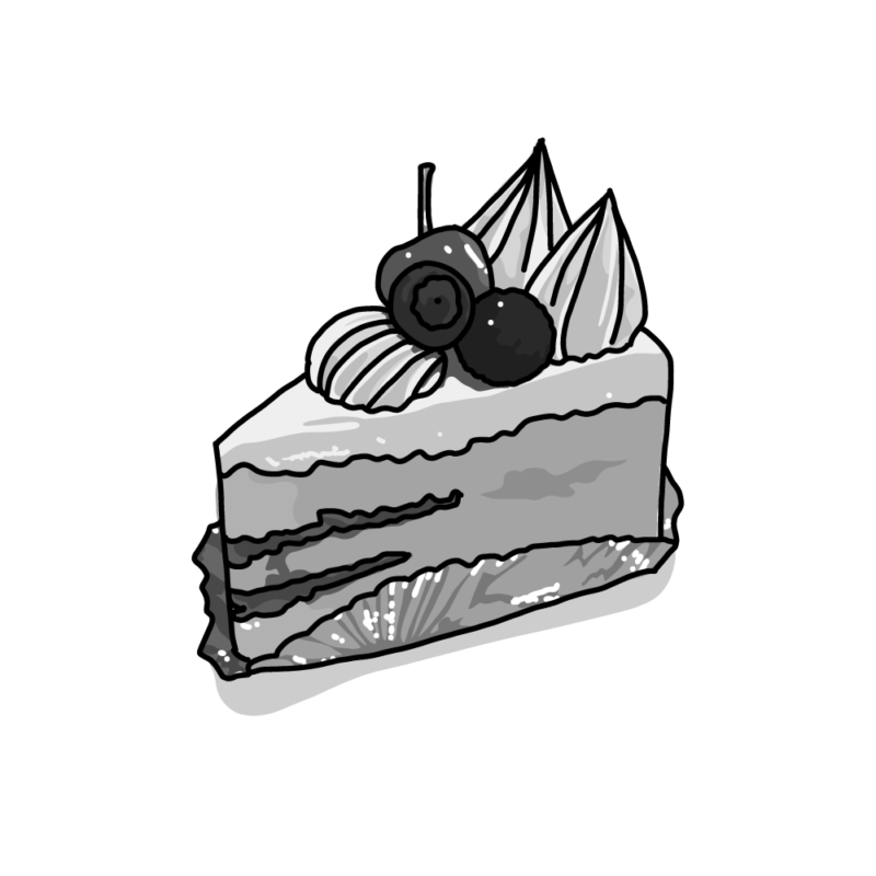 ショートケーキモノクロ