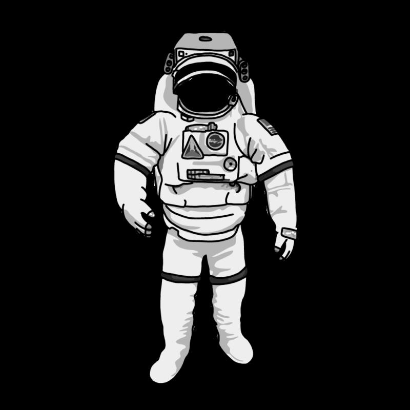 宇宙服かお抜きモノクロ