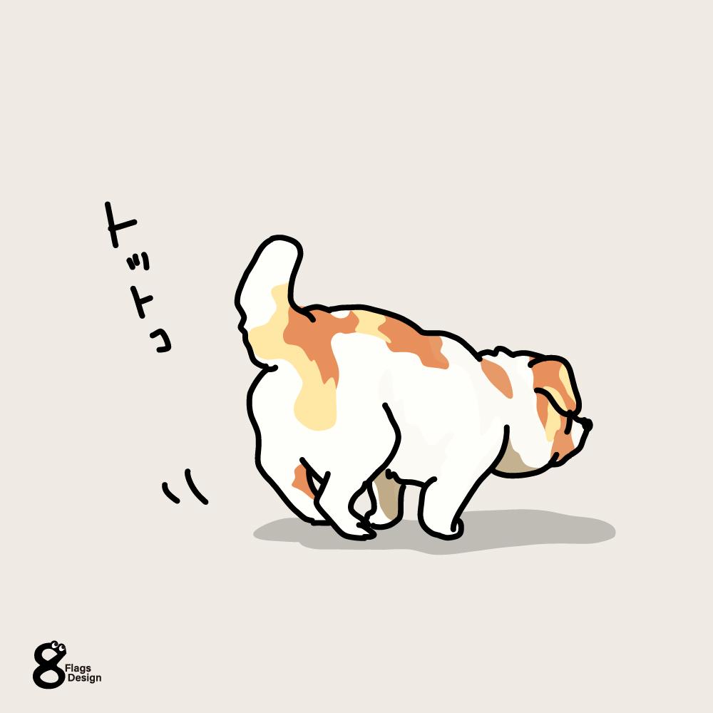 小走りするムク犬のキャッチ画像