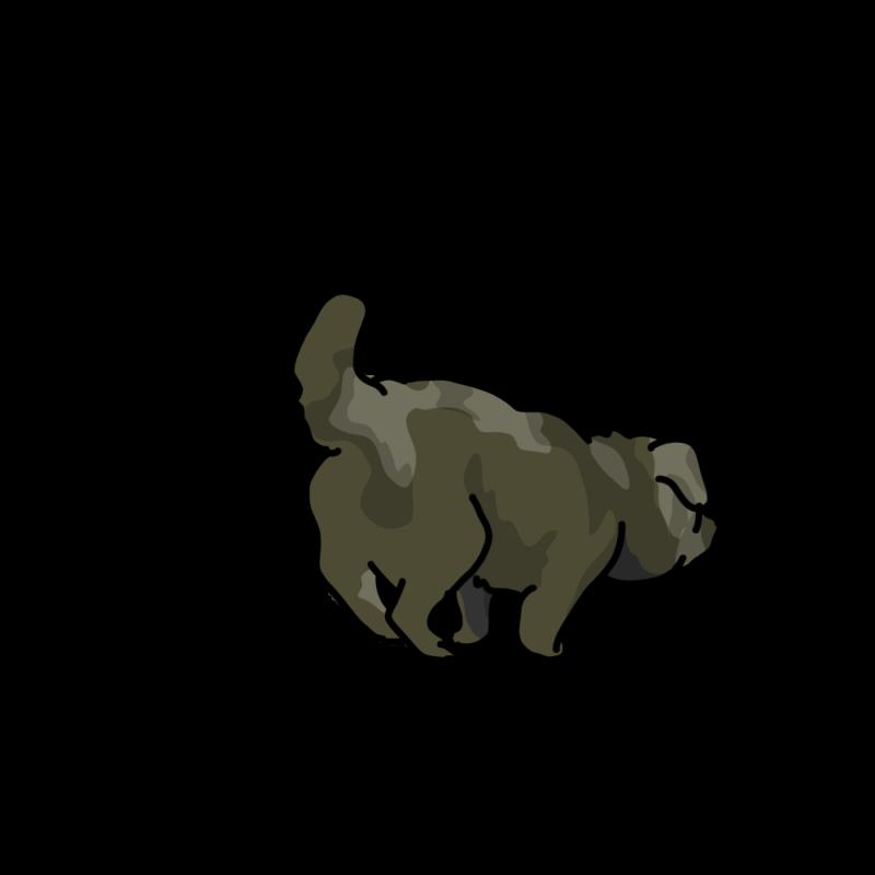 小走りするムク犬黒