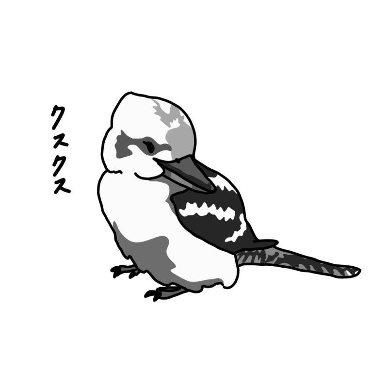 振り向くワライカワセミモノクロ