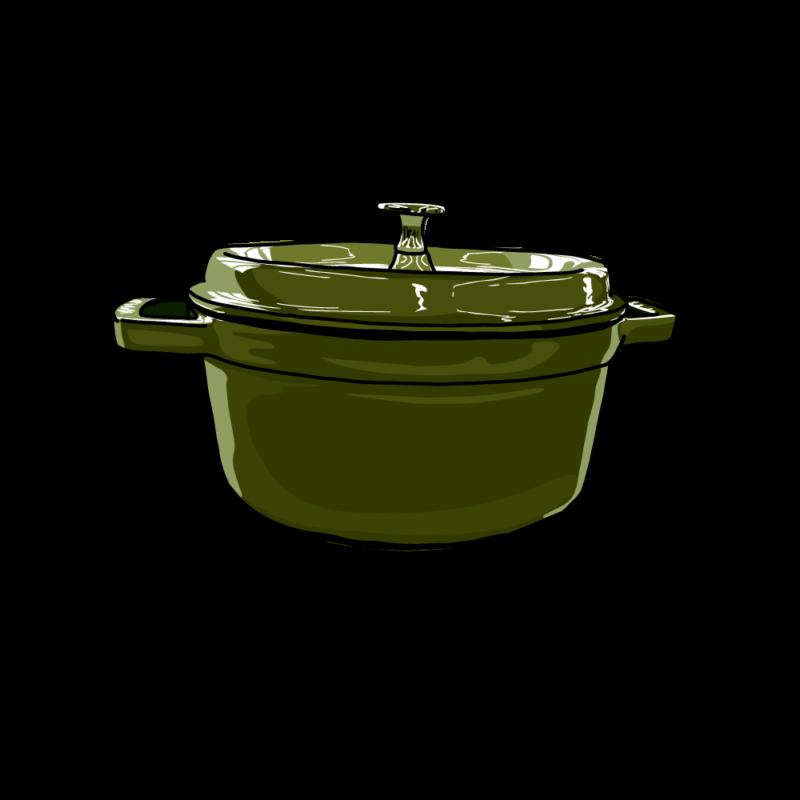 鍋(横から)グリーン