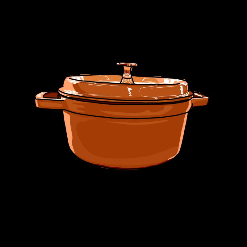鍋(横から)オレンジ