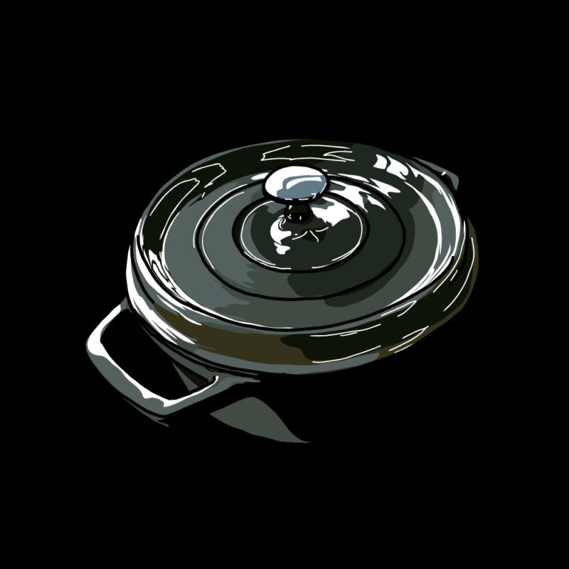 鍋(斜めから)黒