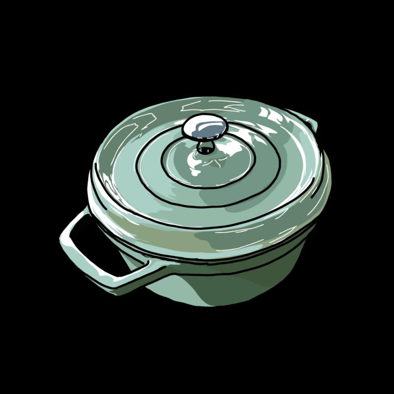 鍋(斜めから)ブルー