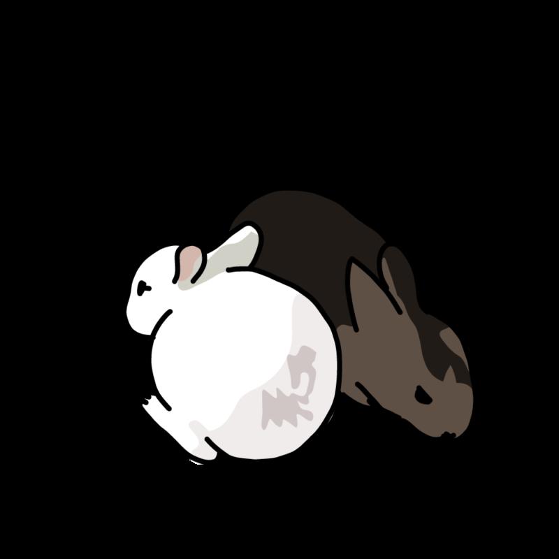 温まるウサギ2白黒