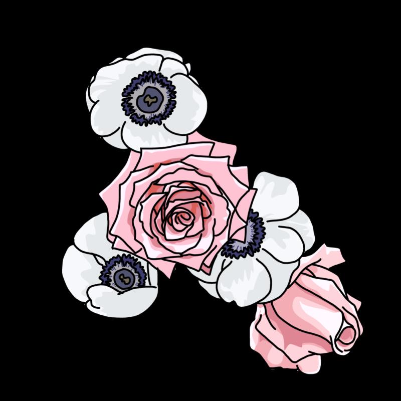バラとポピーピンク