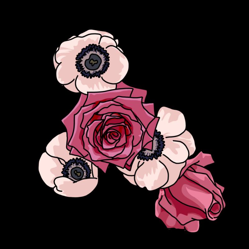 バラとポピー赤