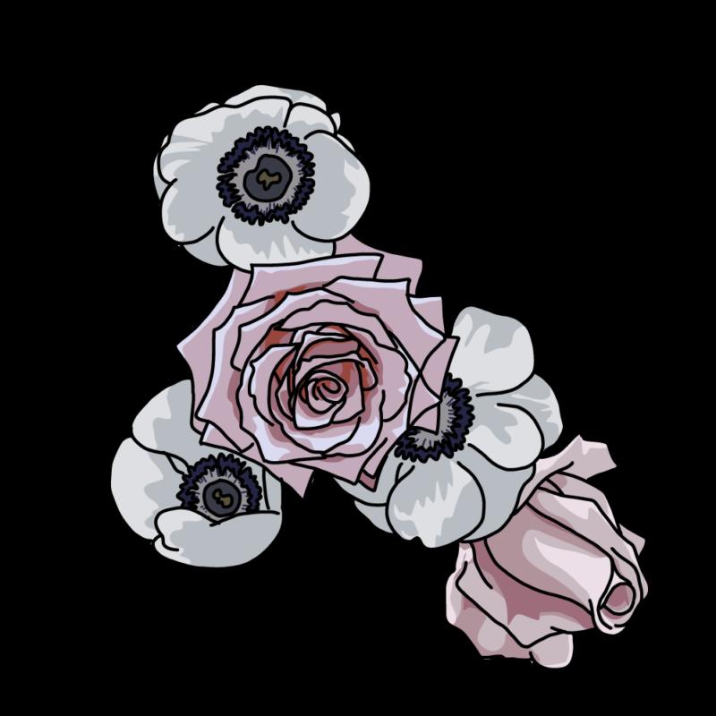 バラとポピーグレー