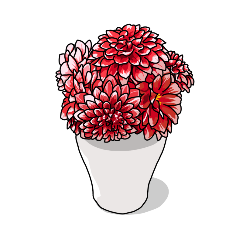 ダリアの花瓶赤