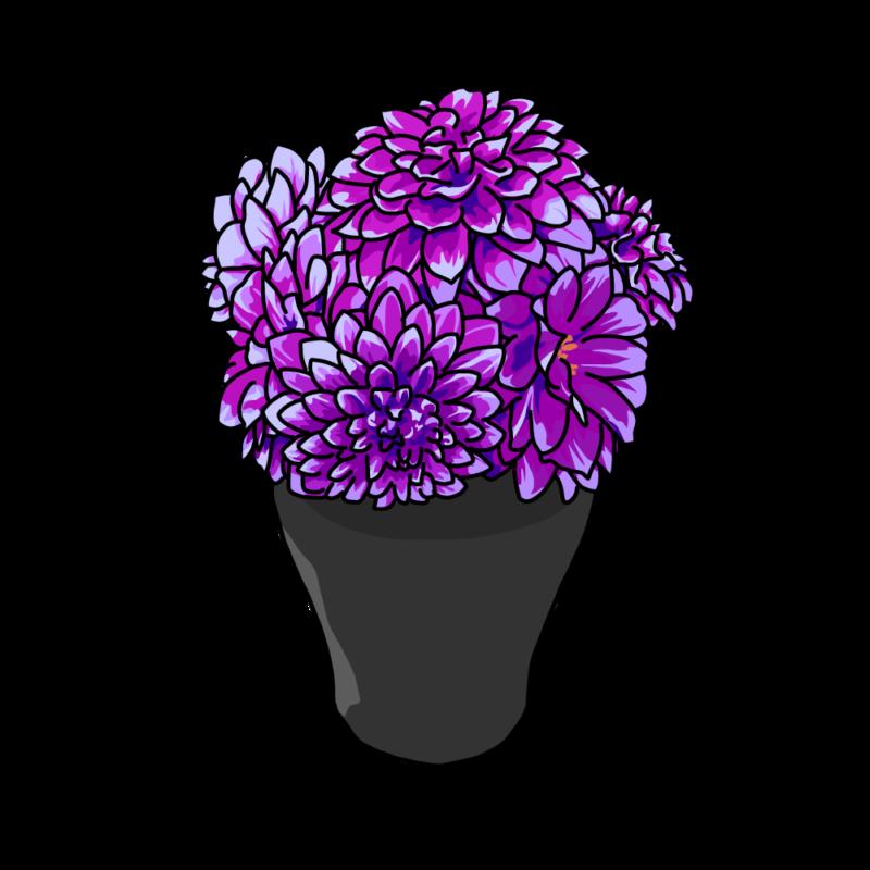 ダリアの花瓶むらさき