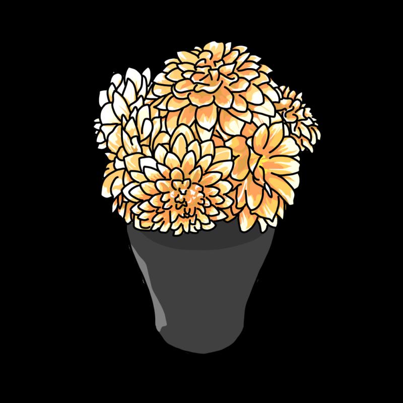ダリアの花瓶黄色