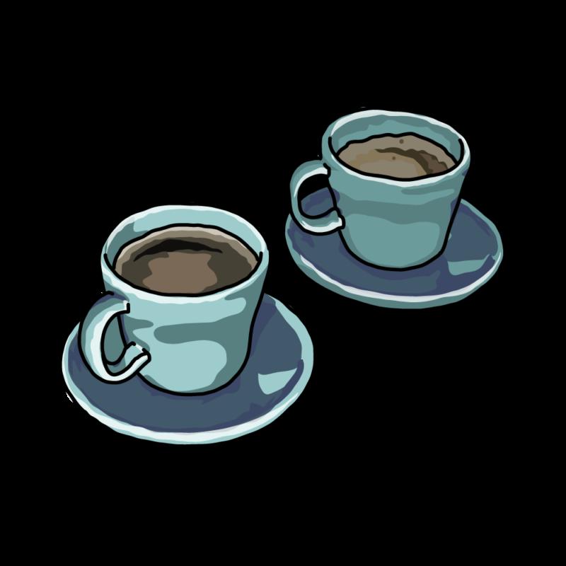 コーヒーと紅茶ブルー
