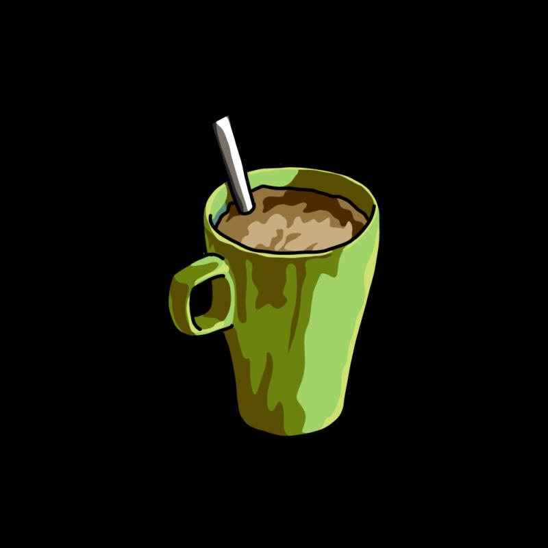 朝のコーヒー緑