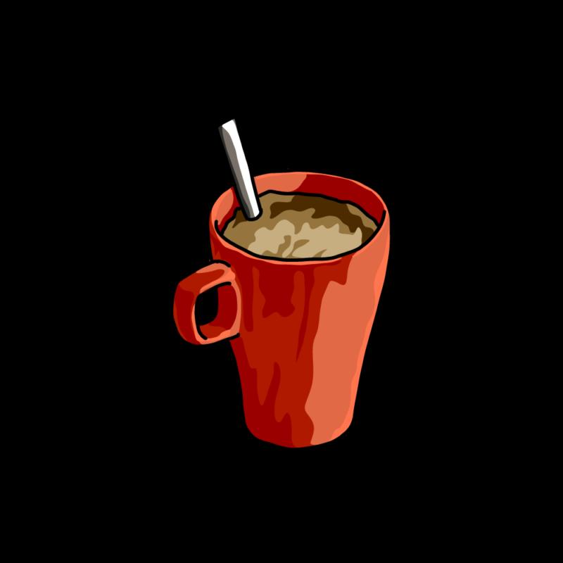 朝のコーヒー赤